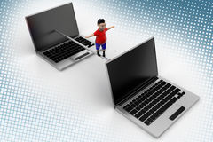 Cool boy balanced through Laptops In Halftone Royalty Free Stock Photography