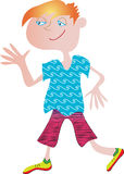 Cool boy. A cool  cartoon boy with blue eyes and red orange hair, wearing a blue wavy tee-shirt and pink purple shorts and yellow sneakers. He's waving his hand Stock Photo