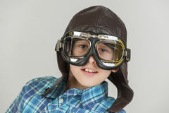 Cool boy with leather cap Stock Photo