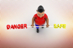 Cool  Boy Lifting Danger And Safe In Halftone Stock Photos