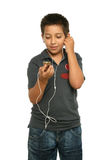 Cool boy listening music with Stock Photos