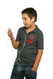 Cool boy listening music with Stock Photography