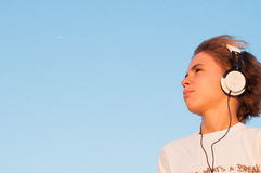 Cool Boy Listening to Music Royalty Free Stock Images