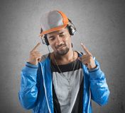 Cool boy listens music Royalty Free Stock Photography