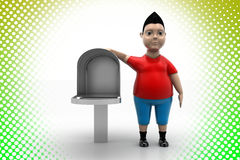 Cool Boy and Mail Box In Halftone Background Stock Image