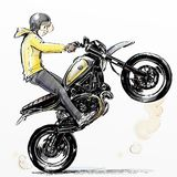 Cool boy riding extreme motorcycle. Illustration cartoon style of Cool boy riding extreme motorcycle Royalty Free Stock Images