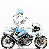 Cool boy riding motorcycle. Cartoon sticker of boy riding motorcycle Royalty Free Stock Image