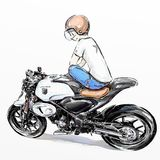Cool boy riding motorcycle. Cartoon sticker of boy riding motorcycle Stock Photo