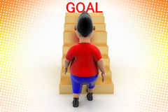 Cool Boy Walking Up Goal Stairs In Halftone Royalty Free Stock Photo