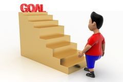 Cool Boy Walking Up Goal Stairs Royalty Free Stock Photo