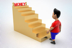 Cool Boy Walking Up Money Stairs In Halftone Royalty Free Stock Photos
