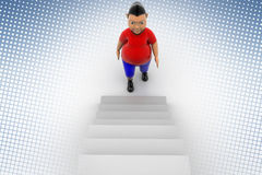 Cool Boy Walking Up  Stairs In Halftone Background Stock Photo
