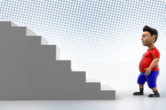 Cool  Boy Walking Up  Stairs In Halftone Royalty Free Stock Photo