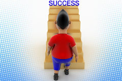 Cool Boy Walking Up Success Stairs In Halftone Stock Photography