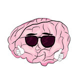 Cool brain cartoon Royalty Free Stock Photography