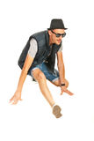 Cool break dancer. Dancing isolated on white background Royalty Free Stock Photography