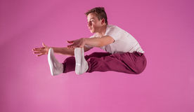 Cool break dancer mid air Royalty Free Stock Image