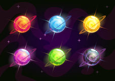 Cool bright colorful fantasy planets. Cool bright colorful fantasy planet icons set, fantasy vector assets for space design Royalty Free Stock Images