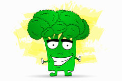 Cool broccoli character illustration in comic style with smile a stock illustration