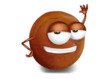 Cool brown, purple pluot cartoon character, sly eyes Royalty Free Stock Photo