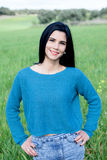 Cool brunette girl with red lips in the field Royalty Free Stock Photos