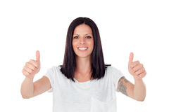 Cool brunette girl saying Ok Royalty Free Stock Image