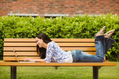 Cool brunette lying on bench using laptop Stock Photography