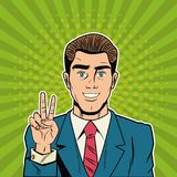 Cool Businessman pop art cartoon. Vector illustration graphic design suit and elegance style vibrant colors Royalty Free Stock Images