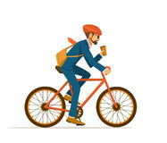 Cool Businessman riding bicycle to office vector illustration