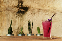 Cool butterfly pea juice on wooden table decorate by cactus in aluminum pots and rough Cement wall Stock Photo