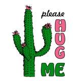 Cool cactus illustration. Blooming Mexican desert plants. Botanical vector illustration, tee shirt graphics, typography. Hug me please stock illustration