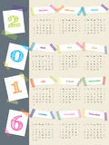 Cool calendar with color tapes for 2016 Stock Image