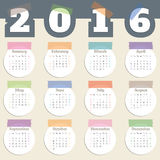Cool calendar with color tapes and white circles for year 2016 Royalty Free Stock Images