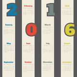 Cool calendar with colorful numbers for 2016 Stock Photo