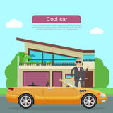 Cool Car Flat Style Vector Web Banner Stock Photography