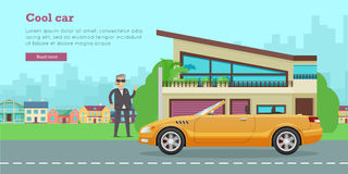 Cool Car Flat Style Vector Web Banner Royalty Free Stock Photo