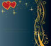 Cool card. Dark blue card with golden lines and hearts Royalty Free Stock Image