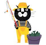Cool cartoon cat like fisherman with bucket of fishes and fishin. G pole. Flat style pet character Stock Photos