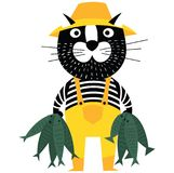 Cool cartoon cat like fisherman holding fishes. Flat style pet character Royalty Free Stock Photo