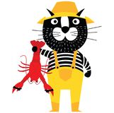 Cool cartoon cat like fisherman holding lobster. Flat style pet character Stock Images