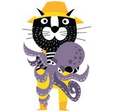 Cool cartoon cat like fisherman holding octopus. Royalty Free Stock Images