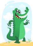 Cool cartoon crocodile or dinosaur. Vector  illustration of a green crocodile waving and presenting. Cool funny cartoon crocodile character. Wild jungle animals Royalty Free Stock Image