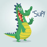 Cool cartoon crocodile or dinosaur. Vector  illustration of a green crocodile. Waving and presenting. Isolated light background. Great for animation Royalty Free Stock Photo