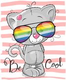 Cute Kitten with sun glasses. Cool Cartoon Cute Kitten with sun glasses Stock Photography