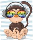 Cute Monkey with sun glasses. Cool Cartoon Cute Monkey with sun glasses Royalty Free Stock Image
