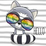 Cool Cartoon Cute Raccoon with sun glasses. On striped background stock illustration