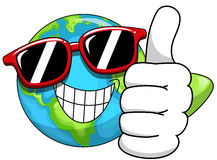Cool Cartoon Earth sunglasses Stock Images