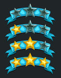 Cool cartoon game rating icons. Level complete  templates Royalty Free Stock Photos