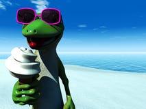Cool cartoon gecko eating ice cream on the beach. royalty free illustration