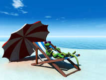 Cool cartoon gecko relaxing on the beach. royalty free illustration